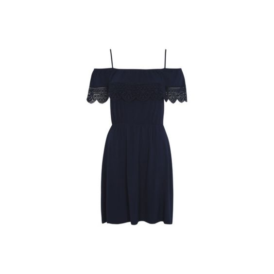 George Cold Shoulder Sun Dress (115 HRK) ❤ liked on Polyvore featuring dresses, navy, summer dresses, navy cocktail dress, navy blue evening dress, sun dress and evening dresses