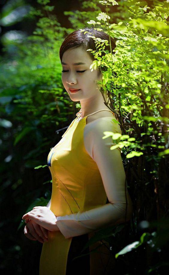 thiếu nữ áo dài vàng