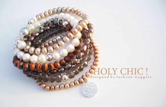 Armband Set (auch einzeln erhältlich) aus echten Edelsteinen. Rauchquarz, böhmische Glasschliffperlen, Süsswasserperlen und 925er Sterling Silber