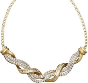 A classic 14k gold necklace with a sparkling twist. 14k gold bands of round-cut and baguette-cut diamonds swirl together.