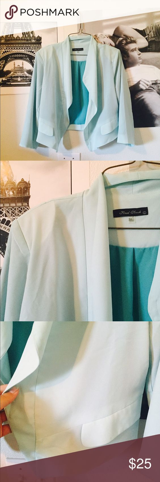 Turquoise Blazer Top Brand new. Never worn. Light turquoise color. Shoulder pads. Lined with a dark real color. Pocket sides. Open blazer style. Very cute! Can be dressed up or down. Final Touch Jackets & Coats Blazers