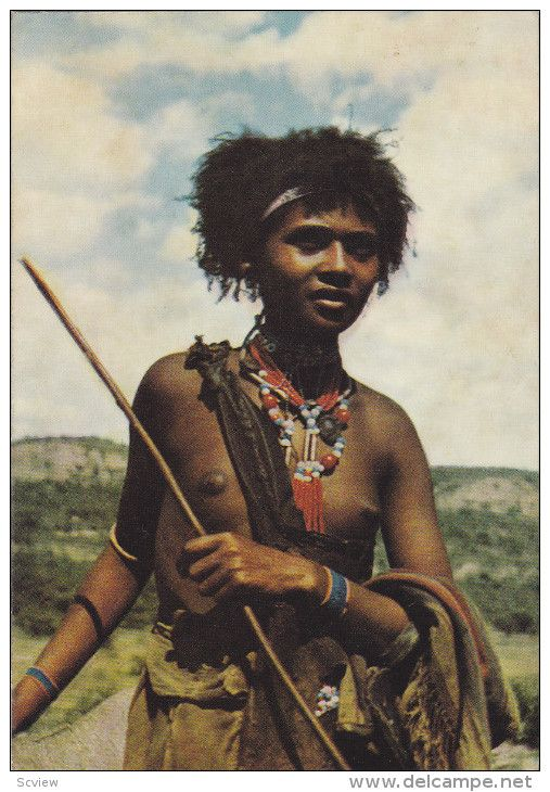 Young Girl (Topless) Shepherdess , Ethiopia , PU-1950s - Delcampe.com