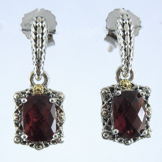 2.10 Total Carats of Checkerboard Cut Garnet set in Sterling Silver Earrings with 18k Yellow Gold Accents. - $175