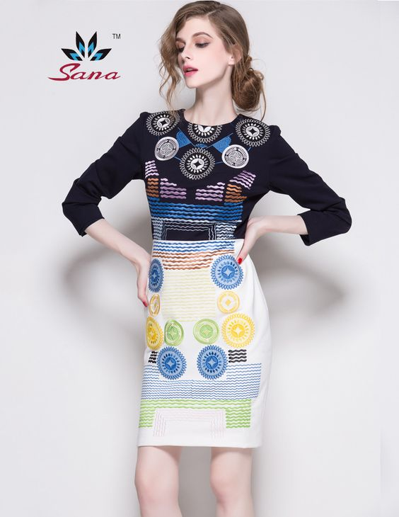 SANA International brand High Quality 2015 Autumn and winter embroidery dresses top wool knee-length print dress Vestidos S-2XL - http://www.styliate.com/products/sana-international-brand-high-quality-2015-autumn-and-winter-embroidery-dresses-top-wool-knee-length-print-dress-vestidos-s-2xl/
