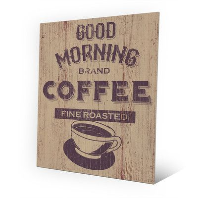 """Click Wall Art Metal Morning Coffee Vintage Advertisement on Plaque Size: 14"""" H x 11"""" W x 0.04"""" D"""