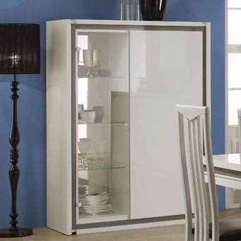 Argentier-vaisselier blanc et gris laqué design avec éclairage LED en option LYDIA