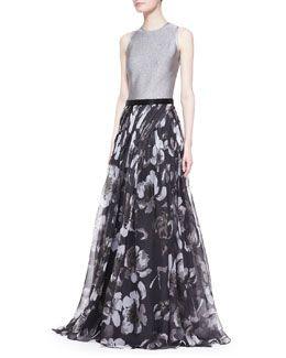 T82FK Carmen Marc Valvo Sleeveless Mixed-Media Floral Gown