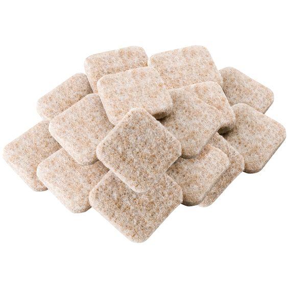 "Waxman Consumer Group 4717495N 1"" Oatmeal Square Self-Stick Felt Pads 16-ct"