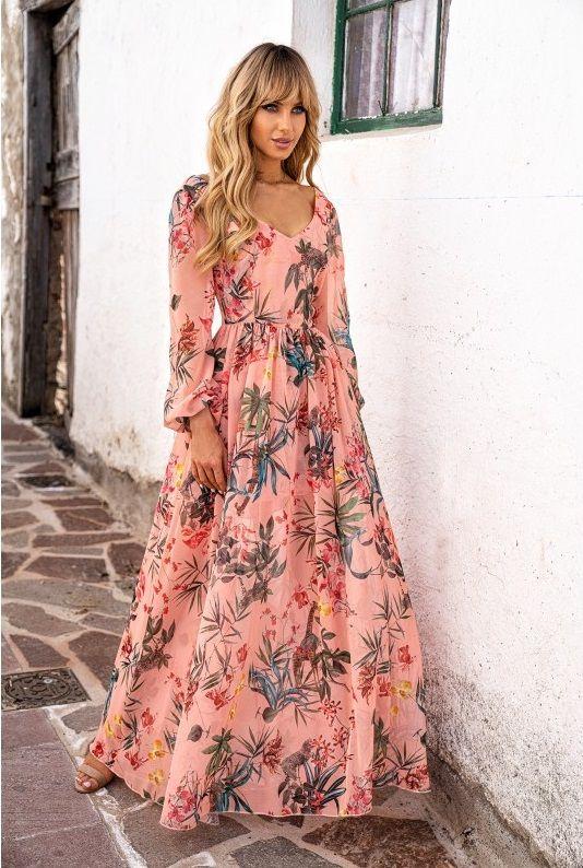 Sukienka Maxi Zwiewna Z Dlugimi Rekawami Maja Morelowa W Kwiaty Fashion Maxi Dress Casual Dress