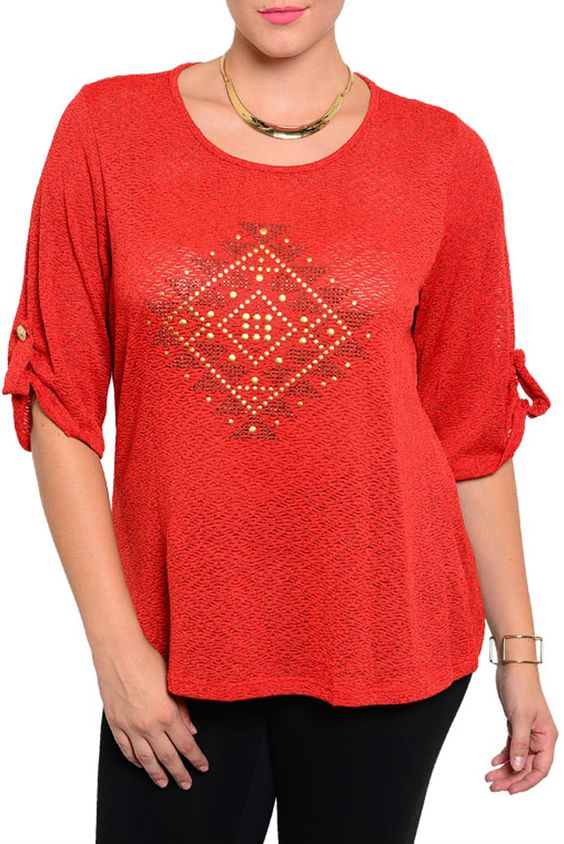 DHStyles Women's [HOT SELLER] Red Plus Size Trendy Studded Diamond Pattern Quarter Length Sleeve Top #sexytops #clubclothes #sexydresses #fashionablesexydress #sexyshirts #sexyclothes #cocktaildresses #clubwear #cheapsexydresses #clubdresses #cheaptops #partytops #partydress #haltertops #cocktaildresses #partydresses #minidress #nightclubclothes #hotfashion #juniorsclothing #cocktaildress #glamclothing #sexytop #womensclothes #clubbingclothes #juniorsclothes #juniorclothes #trendyclothing…
