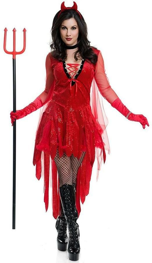Womens Devil Costume Evil Scary Halloween Fancy Dress Outfit Adult Mens