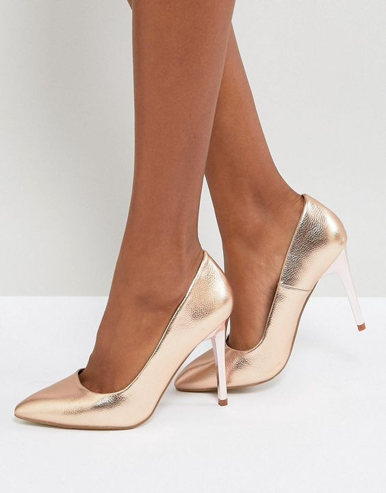 New Look Pointed Court Shoe #ad #womensshoes #courtshoes #gold #goldshoes