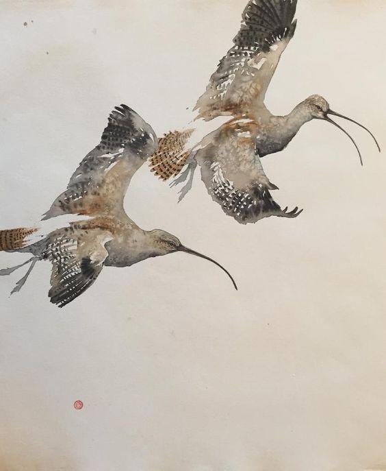 CURLEWS IN FLIGHT by Karl Martens
