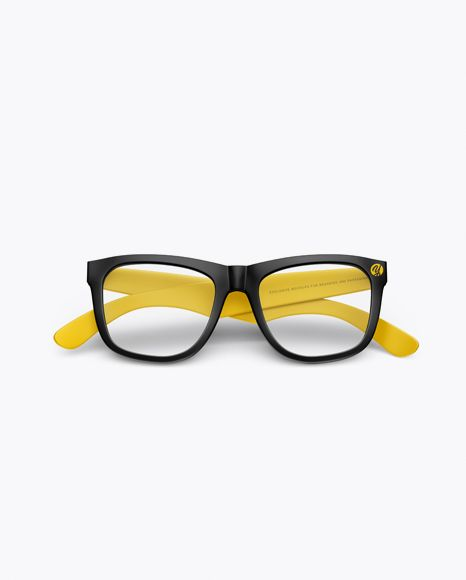Transparent Glasses Mockup Front View In Object Mockups On Yellow Images Object Mockups Mockup Free Psd Mockup Free Download Free Psd Mockups Templates