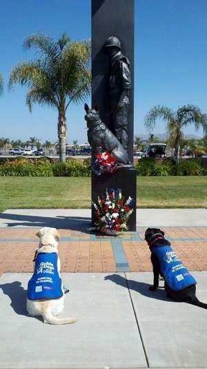 Canines visit War Dog Memorial