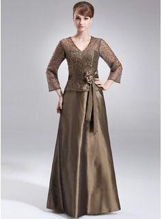A-Linie/Princess-Linie V-Ausschnitt Bodenlang Taft Organza Kleid für die Brautmutter mit Perlen verziert Pailletten