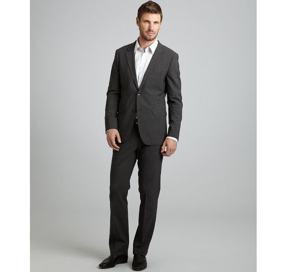 Theory heather grey stretch wool 'Xylo JS Godsford' 2-button suit with flat front pants | BLUEFLY up to 70% off designer brands