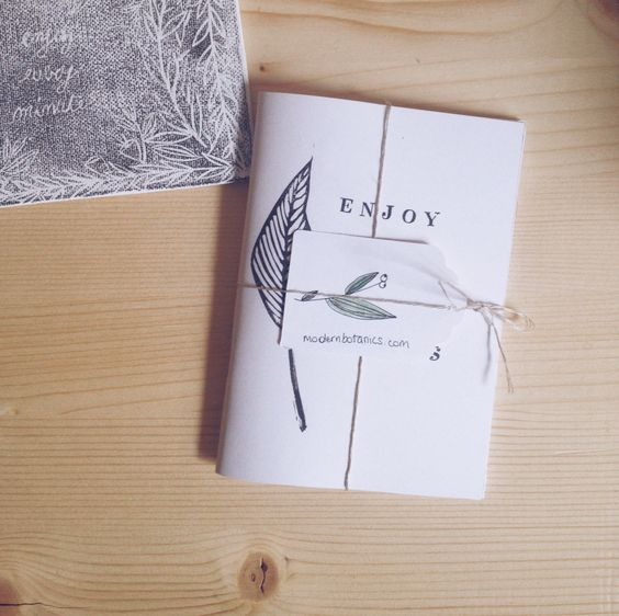 hand printed notebook with quote Enjoy the Little Things - modern botanics
