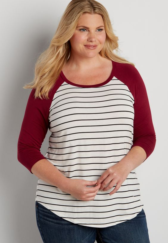 plus size striped baseball tee with rose petal sleeves (original price, $26.00) available at #Maurices