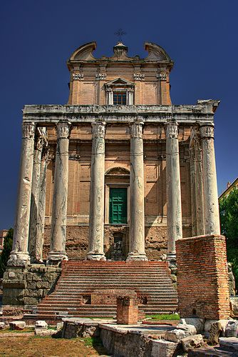 Tempio di Antonino e Faustina. A great visual history of Rome - It was a temple, then it was a church.