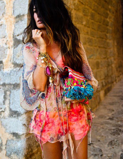 summer, boho, hair, cabello  (BLOUSE Las Dalias Hippy Market, SHORTS Blanco, BRA H, SANDALS Jimmy Choo, BAG Las Dalias Hippy Market, NECKLACES Nadka)