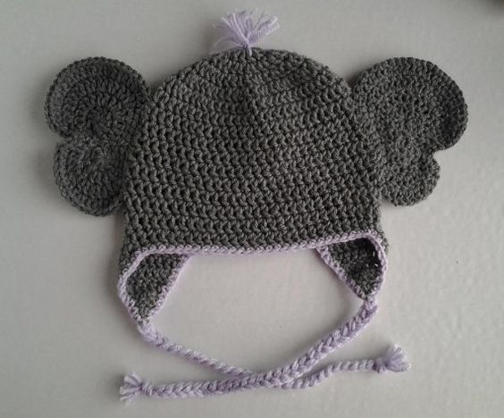 Crochet Pattern For Newborn Hat With Ear Flaps : Instant download - Crochet Elephant Animal Hat Pattern ...