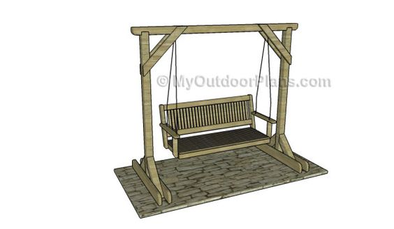 Porch swing stand plans free outdoor plans diy shed for Lawn swing plans free