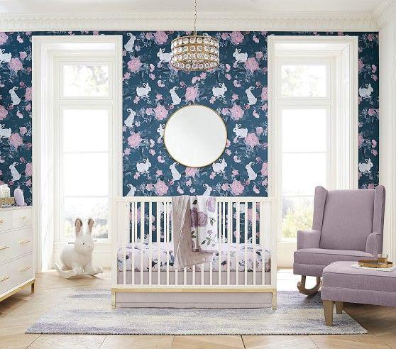 Bunny Peel Amp Stick Wallpaper Pbkids Girl Nursery Wallpaper Baby Room Decor Pottery Barn Kids Bathroom