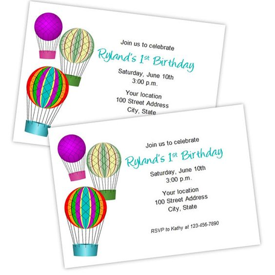 Hot Air Balloon Birthday or Baby Shower Invitation - DIY Printable - baby shower invitation template microsoft word