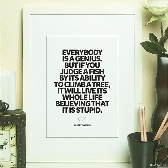 Everybody Is A Genius  Albert Einstein Poster par QuotableLife, $8.00