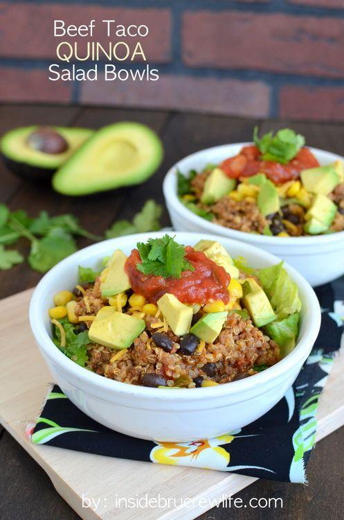 Beef Taco Quinoa Salad Bowls | Recipe | The cheese, Tacos ...