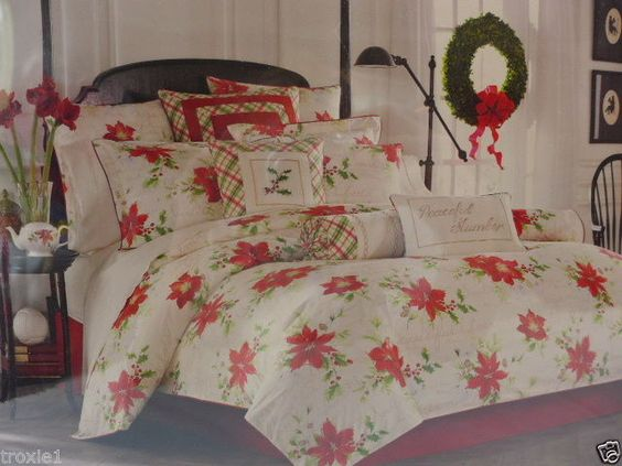 Christmas Bedding Comforter Set Lenox Winter Wishes 4 Piece Set Floral Poinsetia #Lenox #Holiday
