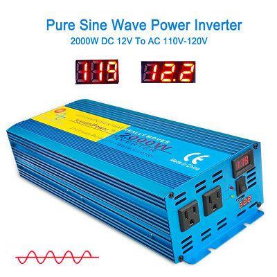 Details About Power Inverter 2000w 12v To 110v 120v Pure Sine Wave Inverter Car Converter Led In 2020 Power Inverters Sine Wave Pure Products