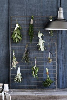 Large Zinc Herb Drying Rack - fresh herbs!