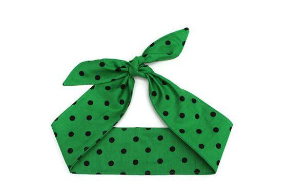 Rockabilly Hair Tie Rosie Wrap Green Black by BlackCatStitches