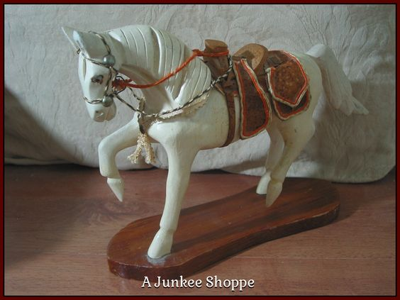 WOOD HORSE Small White Desk Or Shelf Decoration With Wooden Saddle Junk 947  http://ajunkeeshoppe.blogspot.com/