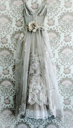 Taupe & blush organza chiffon appliqué boho princess wedding dress by…
