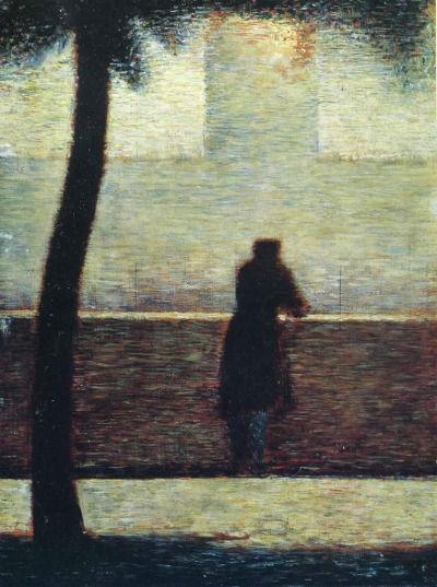 'şehir şarkıları çalılara takıldığında, durgun bir adamın ıslığı olur' man leaning on a parapeth, georges seurat, 1881