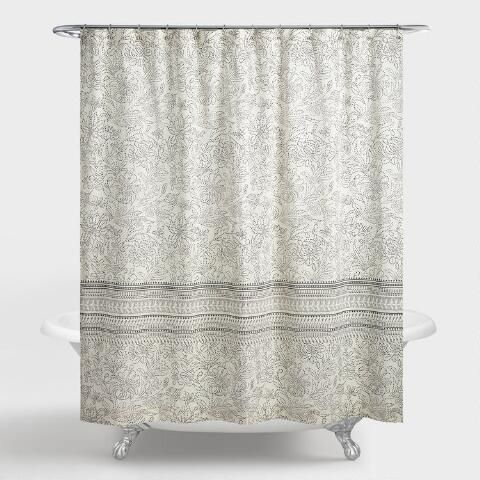Black And Ivory Dotted Floral Nadine Shower Curtain Gray Shower