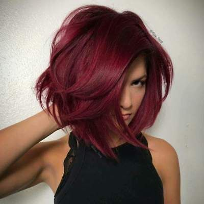 Synthetic Ombre Red Bob Hair Dark Roots Short Straight Side Part Wig For Women Hair Color For Fair Skin Maroon Hair Deep Red Hair