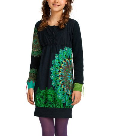 This Black & Green Arabesque Shift Dress - Girls is perfect! #zulilyfinds