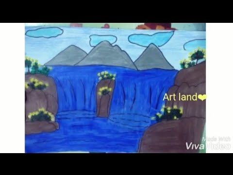 مشهد شلال رسم مدهش سهل وجميل للمبتدئين رسم منظر طبيعي Waterfall Nature S Drawing Easy For Beginners Youtube Nature Drawing Easy Drawings Beginner Art