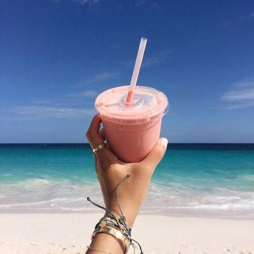 Imagen de beach, drink, and bracelets