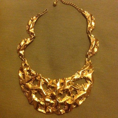 Vtg Napier Gold Tone Super Chunky Necklace | eBay