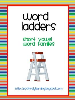 Free packet of 20 half-page word ladders featuring short vowels.
