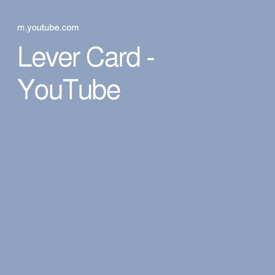 Lever Card - YouTube