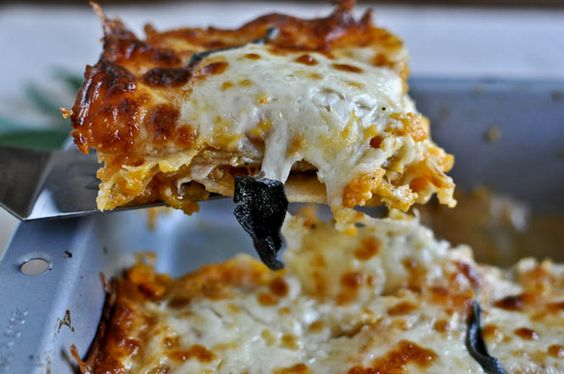 Roasted Butternut and Sweet Potato Whole Wheat Lasagna. Must make this.