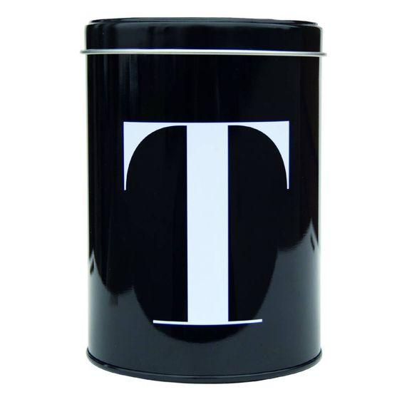 Luxus Vorratsdose in schwarz aus Metall von Nicolas Vahé mit Buchstabe T für jawohl Tea, damit Ihr Tee immer frisch bleibt! Er hat auch ein Brüderchen C... f