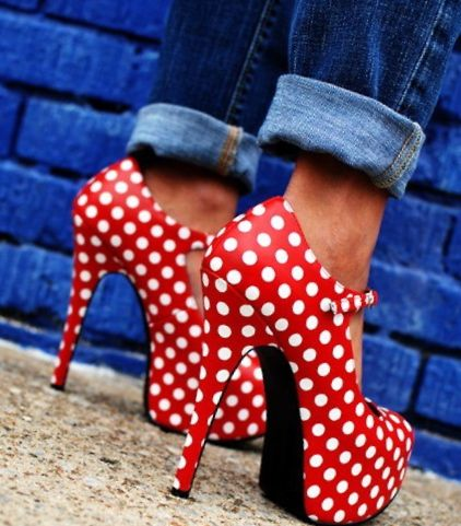 #shoes #heels #maryjanes #red #polkadots #fashion #denim #jeans