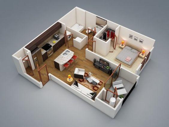 50 Plans En 3d D Appartement Avec 1 Chambres Bedroom Apartment Planes And One Bedroom